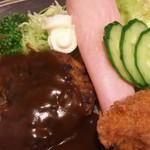 ますや - ランチA (ハンバーグ・魚フライ。ハンバーグ、ちょっと食べた後...)