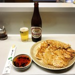 湖月 - 鍋烙 2人前 とキリンラガービール