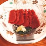 雲峰荘 - 夕食:馬刺し 酒のつまみに最高!