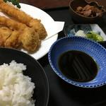 翠芳 - フライ盛合せ定食税込1296円♤海老フライ、蛤、ヒレカツ付(^^)♡