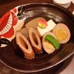 もろ美 - 料理写真:「おでん おまかせ5種盛り (720円)」、こんにゃくがオススメ♪