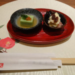 川久 - 先付け「ブロッコリー豆腐・いくら」を旨だしジュレと「リンゴと生ハム白衣がけ」