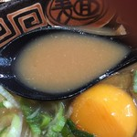徳島らーめん ひろ家 - 徳島らーめん肉入り中盛+生卵(760円)スープ