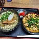 umichikashokudou - 親子丼(小)・小そばセット 750円