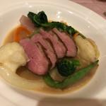 ルミエール - 鴨ロース肉とトリュフ風味の冬野菜添え
