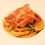 なかがわ - 料理写真:生ハムと冬カブ、菜の花のスパゲッティー