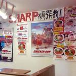RAMEN 風見鶏 - 店内風景②。壁一面に色んな貼り紙が。