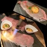 豊後牛ホルモン こだわり米 匠 - バーナーで軽く炙ります。驚愕の炙りユッケ590円