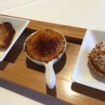 ア・ヴォートル・サンテ - 洋梨のタルト、ブリュレ、コーヒークリームのシュー