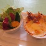 サンビーム - サラダ、エビとカニのグラタン