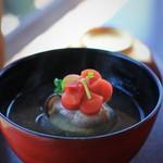 幻董庵 -  お椀 小松菜豆腐と牡蠣のみぞれ