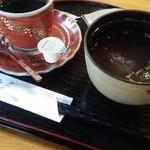 葛の店 まる志ん - デザートの葛ぜんざいとコーヒーです。