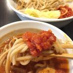 62304593 - 《味玉とまと味噌つけ麺》900円                       麺にチリトマトソースをのせて                       2017/2/7