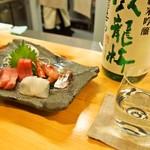 江戸前鮨と鶏 和暖 - 造り五種盛り合わせ & 臥龍梅 純米吟醸