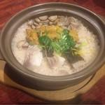 男厨 - 本日の白身と生ウニの土鍋