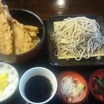 佐賀 - 穴子丼セット999円 蕎麦大盛、アイスコーヒー付