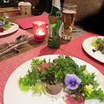 リンコット - フォアグラ・生ハム・サラミ入りの野菜たっぷりの前菜です。