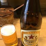 つるや - 瓶ビール(赤星) 600円