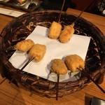 62395438 - 胡麻豆腐。かぼちゃ豚肉巻き。