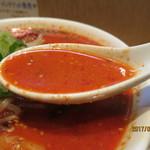 62402286 - 鶏ガラ、とんこつスープに辛さの中にも旨味があるスープ。