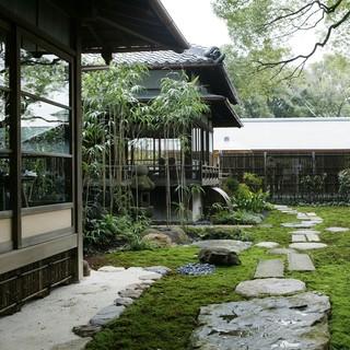 草庵的な緑の庭園を眺めながら優雅なひとときを