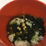 cafe WAKAKUSA - 自宅で土産のお茶漬けに茶を注いで食べた。
