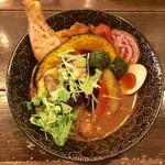 奥芝ール - チキン野菜1380円、辛さ12番ミラノプラス200円、パクチートッピングプラス150円です。