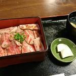 江戸庄 - 村上牛 レアステーキ丼(上)