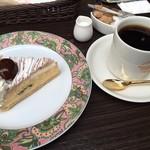 ナガハマコーヒー - 料理写真:ケーキセット(モンブラン&ナガハマブレンド) 842円