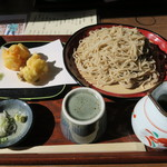 日野宿 ちばい - もり蕎麦(大盛り)+かき揚げ天
