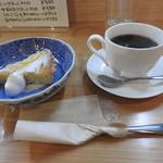コーヒー 紗蔵 - 季節のタルト(レモンタルト)とブレンドコーヒー
