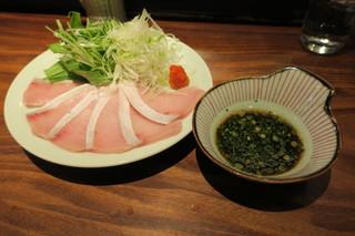 銀座 いっぱし - 寒鰤のしゃぶしゃぶ 笹打ち葱と水菜 鰤ガラの出汁・ポン酢1