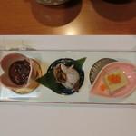 割烹 味香佐 - ①前菜 『冬の三種盛り』