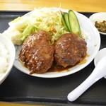 みさき庵 - ハンバーグセットのハンバーグ