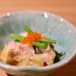 天ぷら串ともつ鍋 奥志摩 - 鯛と梅肉の天ぷら