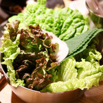天ぷら串ともつ鍋 奥志摩 - たっぷり巻き野菜