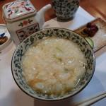 割烹 味香佐 - 雑炊、二杯目はポン酢を垂らして。