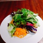 ビストロ ディヴァン - こちらはサラダプレート(税込1080円)のサラダ。左にオレンジ色に見えるのはひよこ豆のフムスでお肉類はなかったはず。