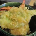 手打ちそば 秋新 - ミニ?は御飯だけ、天ぷらは並盛り海老天2本付き
