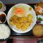 光玉母食堂 - 2017年1月 とり天定食 950円