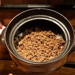 炭火割烹 蔓ききょう - 鹿の炊込みご飯