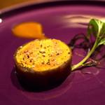 リョウリヤ ステファン パンテル - フォアグラのコンフィ 奈良漬け巻き  南国フルーツソース