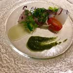イタリア料理 リストランテ フィッシュボーン - 前菜   カルパッチョ   新鮮そのものです。
