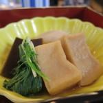 62601490 - 身欠きニシン、高野豆腐、水菜、昆布、蕪の煮物アップ
