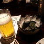 手作り旬菜と地酒 せん - ビールとお通し
