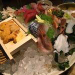 北の味紀行と地酒 北海道 - 刺身盛り4000円の食べかけ(笑)