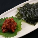 チャンジャと韓国海苔