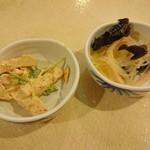 レストラン白根 - 春雨サラダ 、鶏肉の塩茹で 胡麻ソース