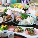 ひろしま 備後 - 食べログ限定!旬の魚をメインにした宴会料理は2時間飲み放題付きで4,500円!(メニューは一例です)。