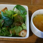 地酒とワインのダイニング 樽 - セットのサラダとスープ